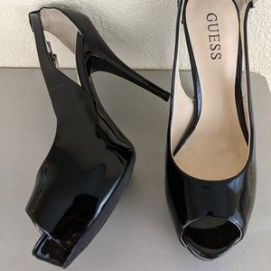 GUESS Peep Toe Black Patent Leather Heels Sz 6.5